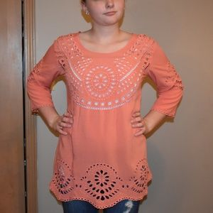 Coral Solitaire Swim Top Cover Up Sz M